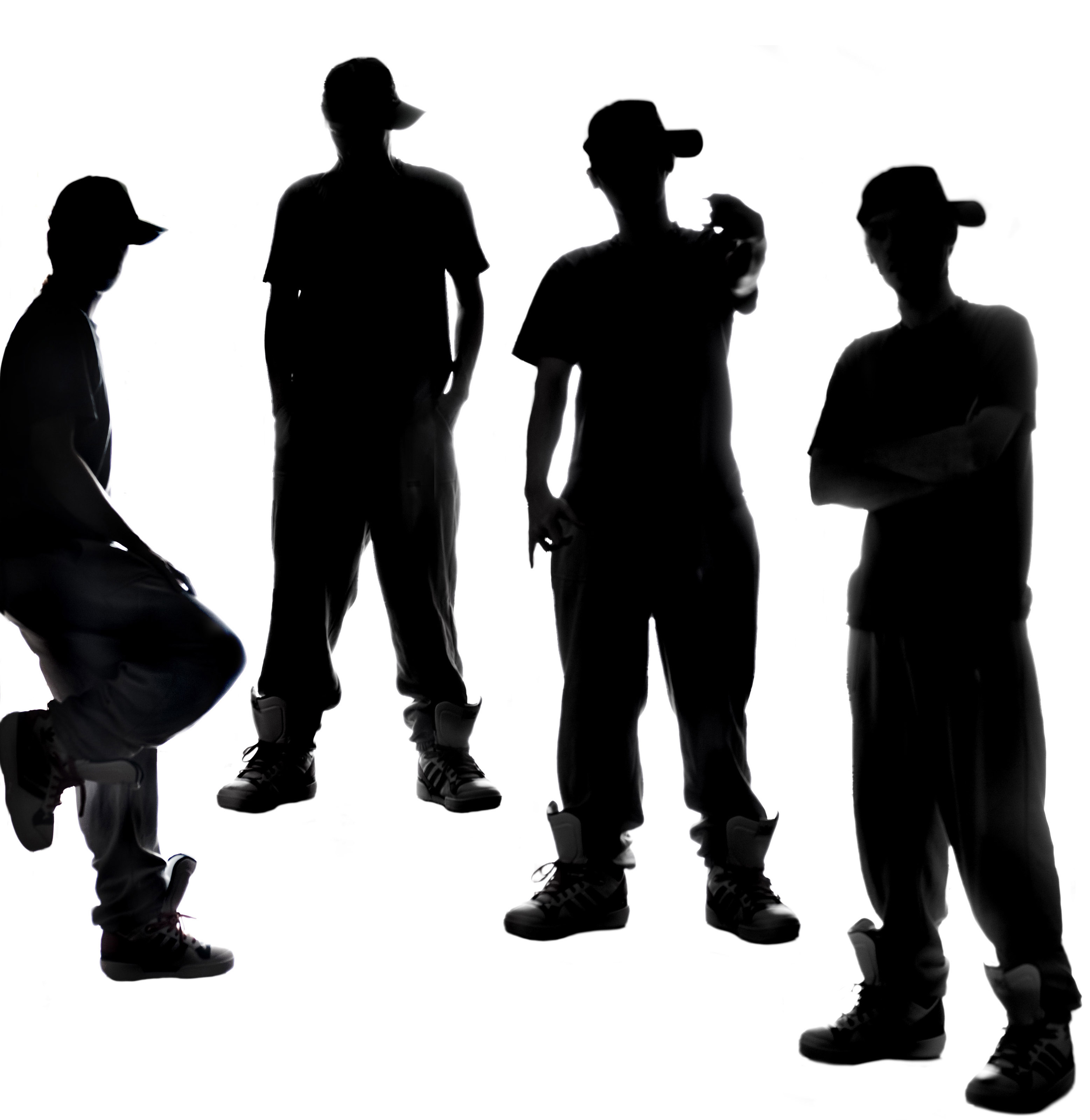 Image result for silhouette of 5 teenage boys""