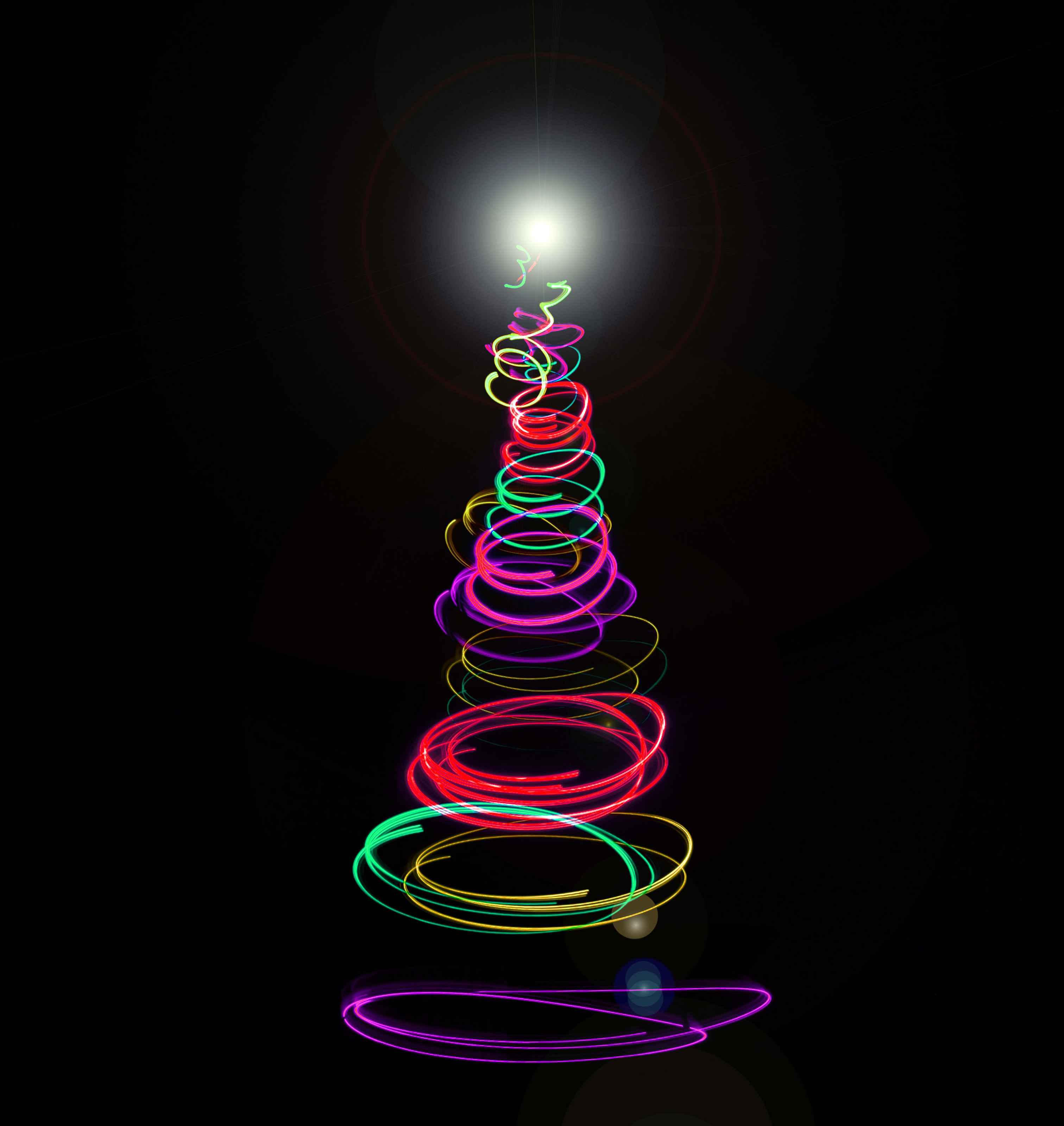 Christmas Tree Light Pictures: Colourful Abstract Christmas Tree-8251