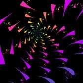 a fractal backdrop of spiraling rainbow coloured cruved triangles