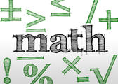 hand drawn effect lettering spelling math and ravious mathematical related symbols