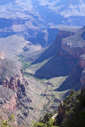 a spectacular view looking down into part of the grand canyon