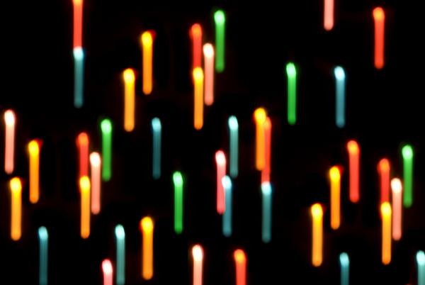 colourful seasonal background of motion blurred christmas lights