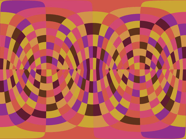 an orange backdrop of overlapping and transparent lines forming a distorted curved compostion