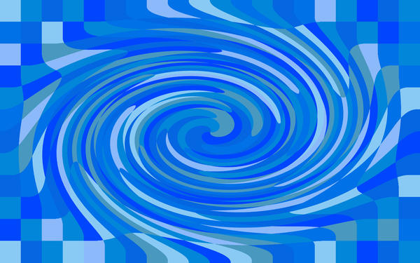 a blue checked background with a twisting whirlpool like distortion, illustrarion with an aquatic colour sceheme