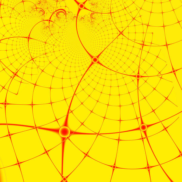 red cruved and twisted mesh design on a yellow background