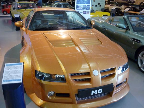 editorial use: an MG c-power 5V car on display in a museum