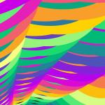fractal patten composed of overlapping colourful shapes