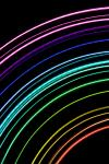 a spectrum of colours formed from curved concentric thin light lines