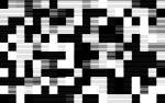 a black and white checkerboard pattern comprised of varying widths of horizontal black lines