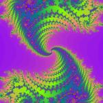 an infinite repeating fractal patter with rainbow colours