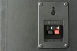 spring loaded audio connection terminals on the back of a hi-fi speaker cabinet