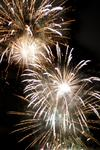 stock image The night sky light by multiple fireworks explosions