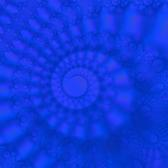 a blue fractal spiral similar to the shape of an ammonite shell