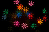 bokeh shape effect, mulitcoloured starbursts