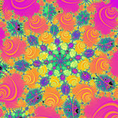 a mandelbrot fractal with all colours of the rainbow and 8 orders of rotational symmetery