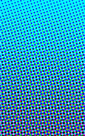 an blue to cyan graduation comprised of cyan magenta black and yellow process colour circles