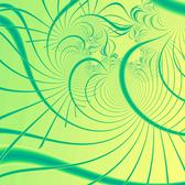 a dreamline green and yellow fractal rendering or bizarre curving lines