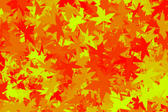 soft autumn coloured background, red orange and yellow leaf shapes