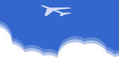 simple cloud illustration and aircraft symbol