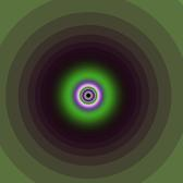 concentric circles of green and purple with bands of various thicknesses