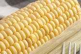 Close-up of yellow raw corn-cob