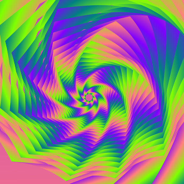 an unusual computer generated pattern of overlapping brightly colours shapes forming a whirlpool type effect