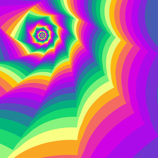 a brightly coloured background of cycling colours in a spiral motif