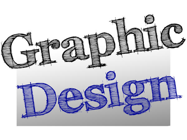 graphic lettering spelling out Graphic Design in a hand drawn style on a grey graduated background