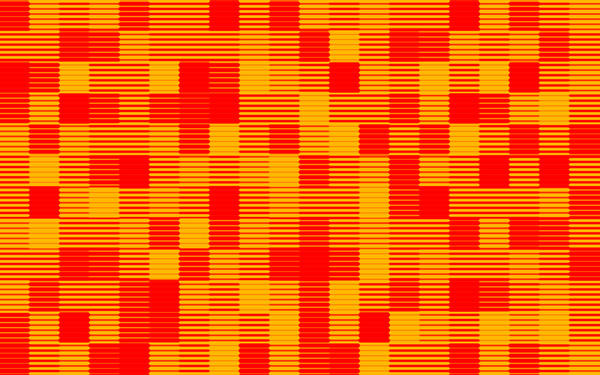 a halftone lined pattern of bright orange and red colours