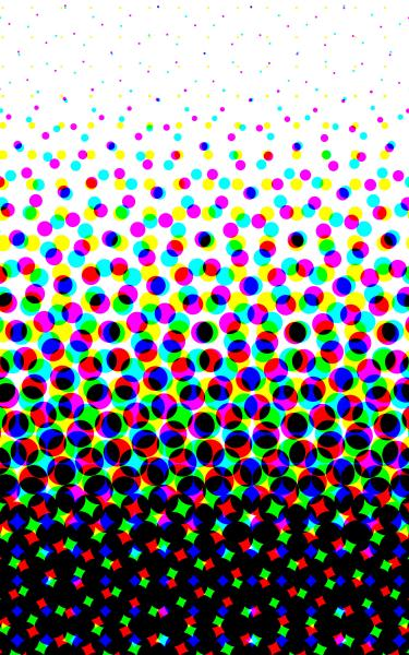white to black graduation composed of coloured halftone print dots