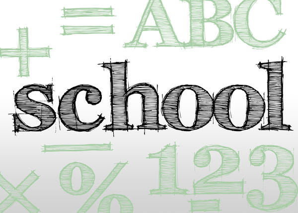 hand drawn type effect spelling school and surround by various education concepts for maths and english learning