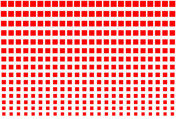 red squares reducing in size to created an 80s style graduated backdrop