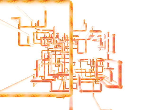 a network of orange pipes on a white background