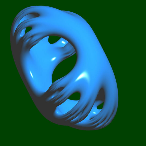a blue 3d rendered shape on a green backdrop
