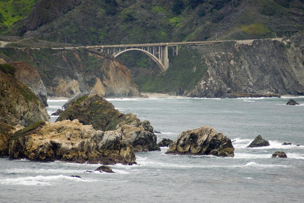 One of the many concrete arch road bridges on highway 1 at rocky creek