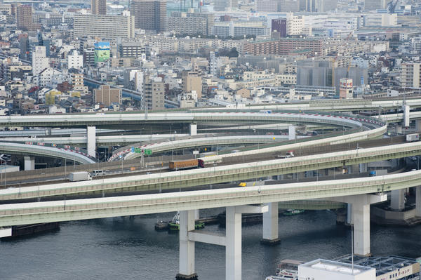View of Osaka, Japan, showing the road network with elevated flyovers and bridges in the foreground