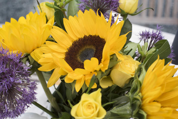 Colorful Yellow Arrangement Of Flowers In A Vase 9809 Stockarch